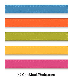 Set of multicolored school measuring rulers with centimeters and inches