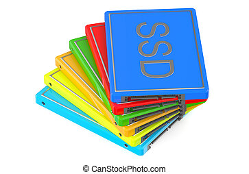 set of multicolored Solid State Drive SSD
