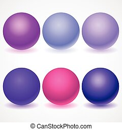 Set of multicolored spheres with shadows - Set of...