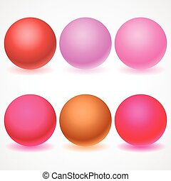 Set of multicolored spheres with shadows