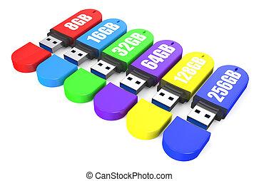 set of multicolored USB flash drive ss 3.0 8,16, 32, 64, 128, 256 gb