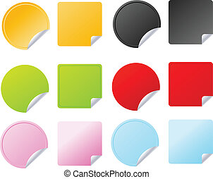 Set of multicolored vector badges