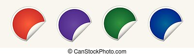Set of multicolored vector stickers with a positive tick.