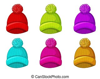 Set of multicolored winter hat with pompom
