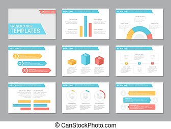 Set of multicolour template for multipurpose presentation slides with graphs and charts. Leaflet, annual report, book cover design.