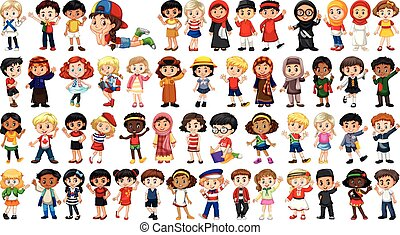 Set of multicultural character
