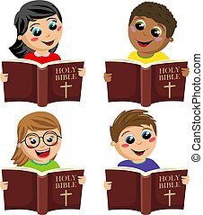 Set of multicultural happy kids reading holy bible book isolated on white