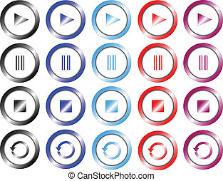 Set of multimedia colored buttons