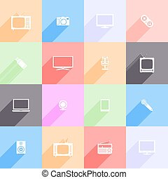 Set of multimedia flat icons with long shadow