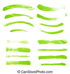 Set of multiple straight and curved oil paint handmade brush strokes isolated over the white background as a backdrop's design element collection