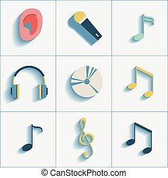 Set of musiacl social media icons.