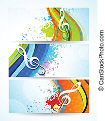 Set of music banners. Abstract colorful illustration
