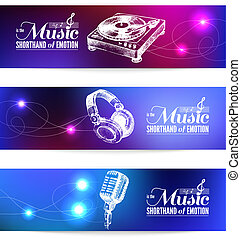 Set of music banners. Hand drawn illustrations and typography design