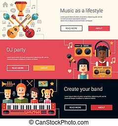 Set of music flat modern illustrations, banners, headers with icons and characters. Flyers for your design