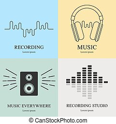 Set of music logos templates. Recording studio labels. Radio badges with sample text. Vector illustration for design, web.