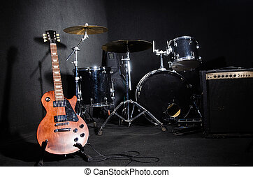 Set of musical instruments in club