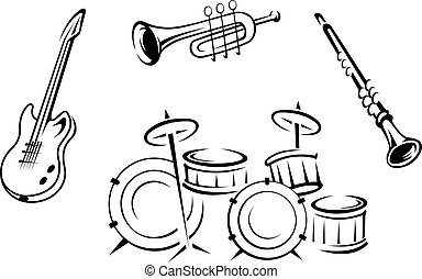 Set of musical instruments in retro style isolated on white...