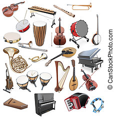Set of musical instruments on a white background. String...