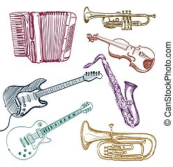 set of musical instruments sketches