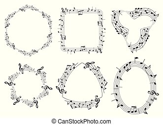 set of musical vector frames with music notes