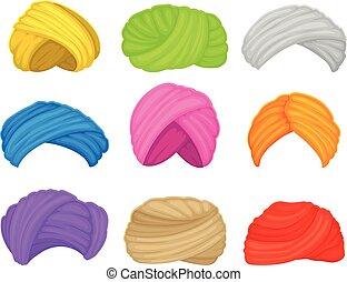 Set of muslim turbans. Vector illustration on white background.