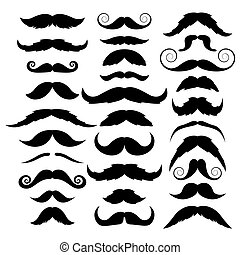 Set of mustache on white background. Vector illustration.