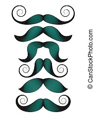 Set of mustaches on white background. Vector illustration,.