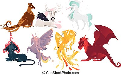 Set of mythical, mythological creates and animals