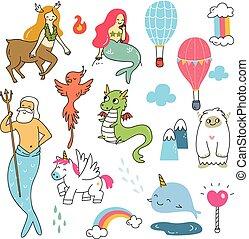 Set of mythological creatures