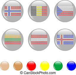 national flags icon shiny button