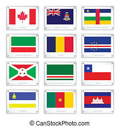 Set of National Flags on Metal Texture Plates