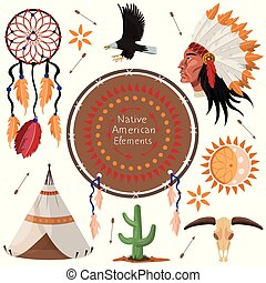 set of native american elements vector image
