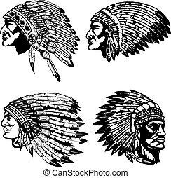 Set of native american heads in headdress. Design elements...