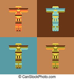 Set of native traditional totem pole
