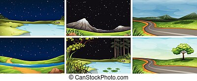 Set of natue landscape