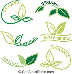 Set of natural and organic logos with leaves