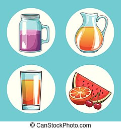 Set of natural juice round icons