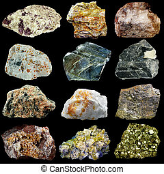 Set of natural minerals and rocks isolated on black...