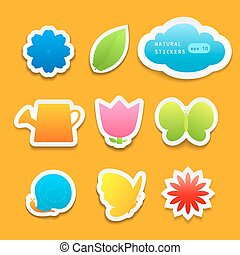 Set of natural stickers