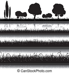 Set of nature background with grass, bushes and trees silhouettes. Vector elements of design