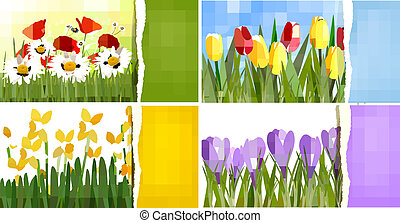 Set of nature backgrounds with colorful spring and summer...