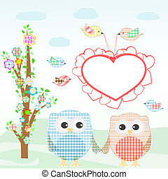 Set of nature elements: owls and birds on branches and tree