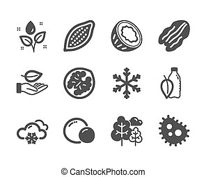 Set of Nature icons, such as Leaf, Cocoa nut, Snowflake....