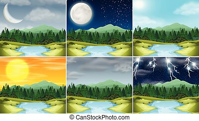 Set of nature landscape different climate