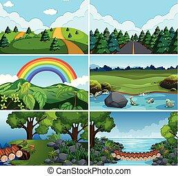Set of nature scenes