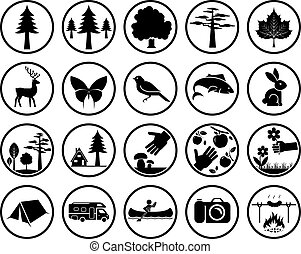 Set of nature signs