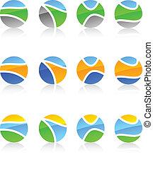 Set of nature symbols. - Abstract nature symbols. Vector...