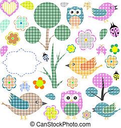 nature textile stickers vector Set