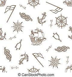 Set of nautical design elements