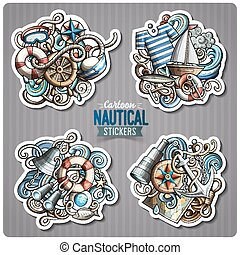 Set of Nautical doodle cartoon stickers